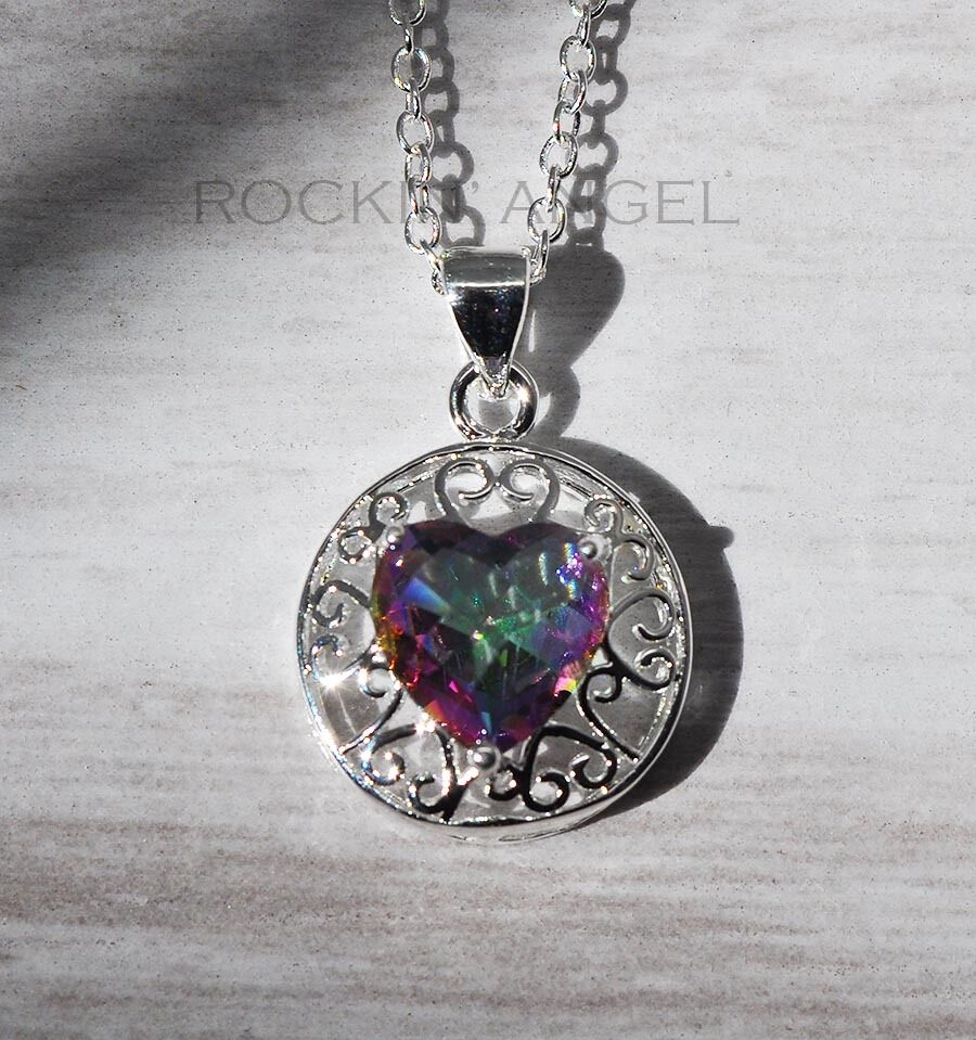925 silver mystic rainbow topaz gem pendant necklace