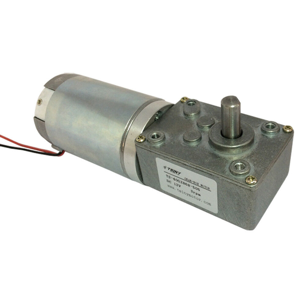 3 rpm electric gear motor 12v low speed gearmotor dc worm for Low rpm electric motor for rotisserie