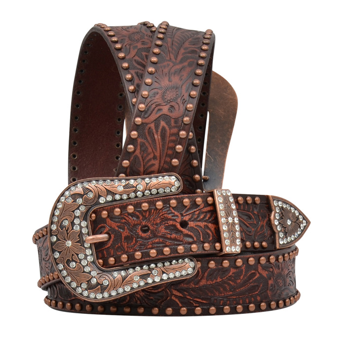 ranch western womens belt leather copper studs brown
