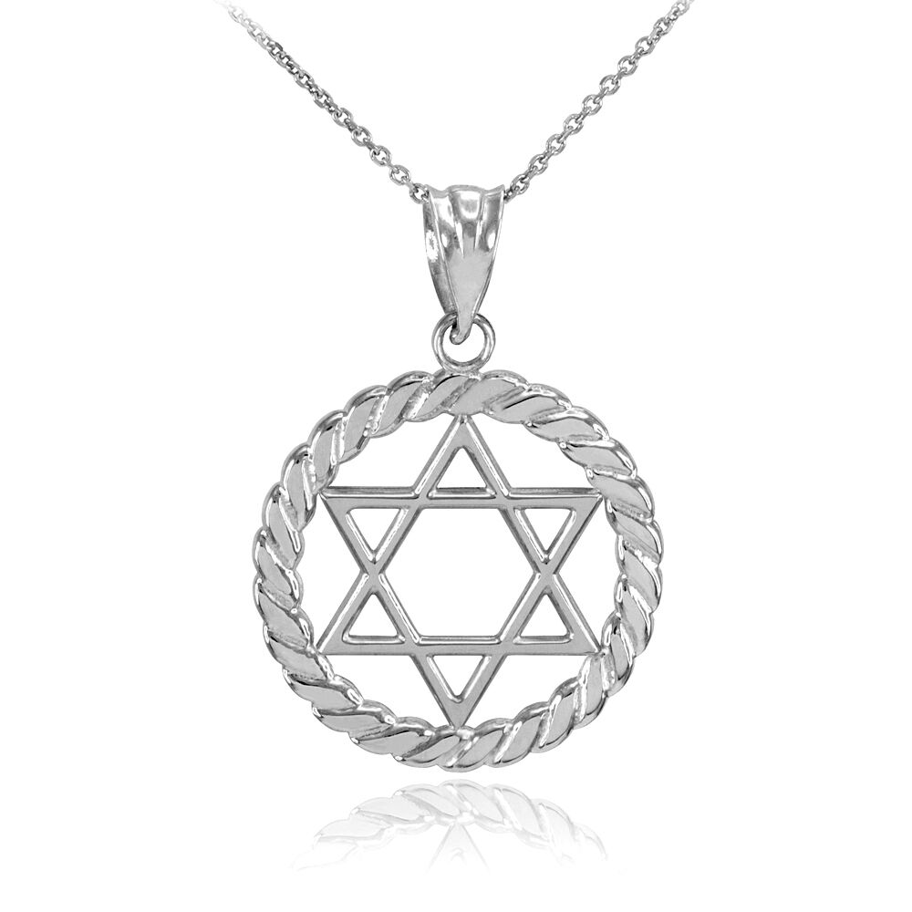 white gold jewish star of david in circle rope pendant. Black Bedroom Furniture Sets. Home Design Ideas