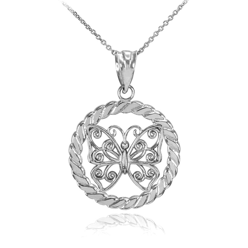 white gold filigree butterfly in circle rope pendant. Black Bedroom Furniture Sets. Home Design Ideas