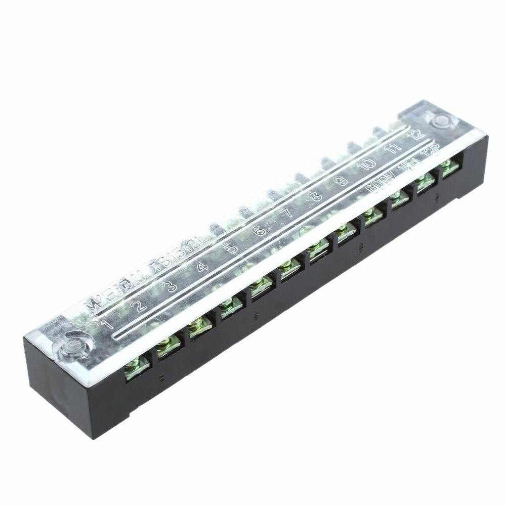 600v 15a 12 positions covered screw terminal barrier strip