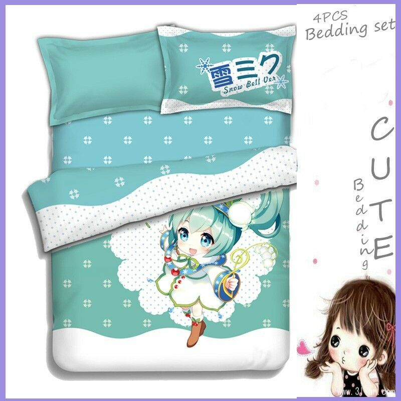 Anime SNOW Hatsune Miku 4pcs Set Duvet Cover Sheet Pillowcase Bedding Set Cute eBay