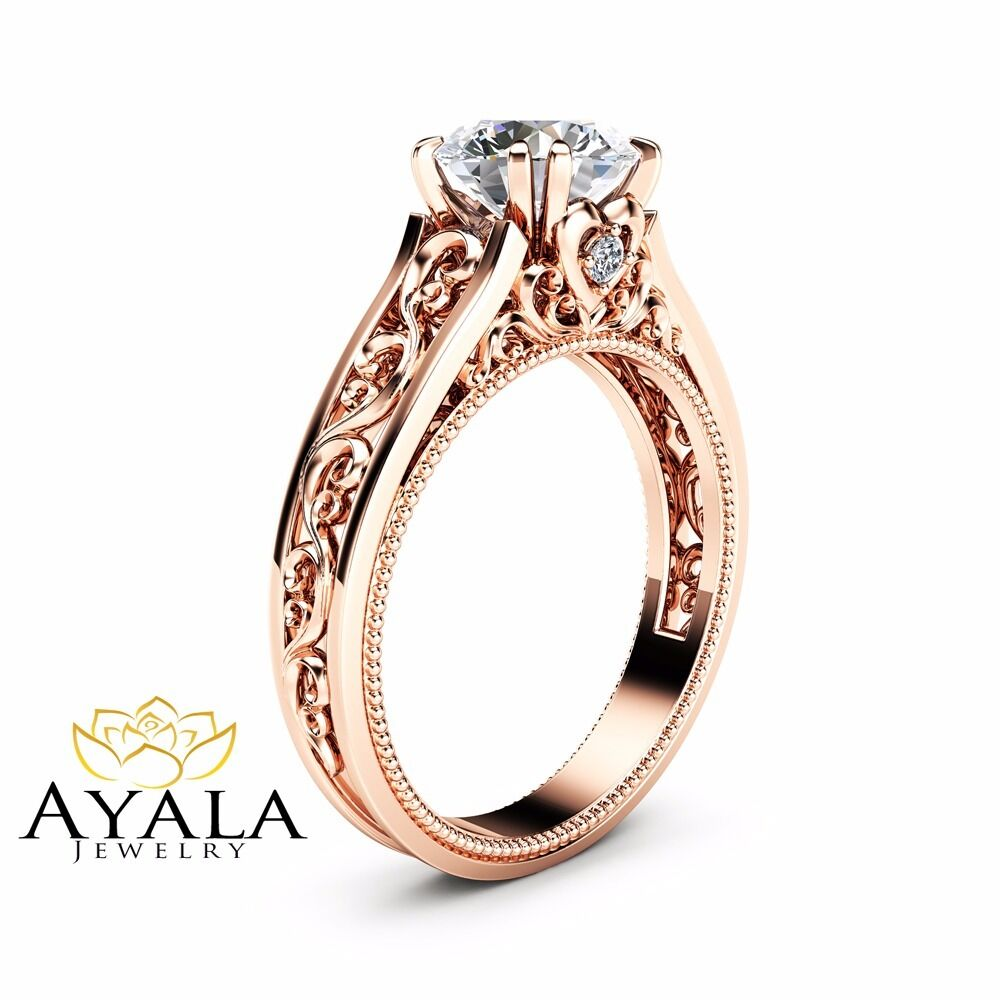 14K Rose Gold Moissanite Engagement Ring Milgrain Design ...