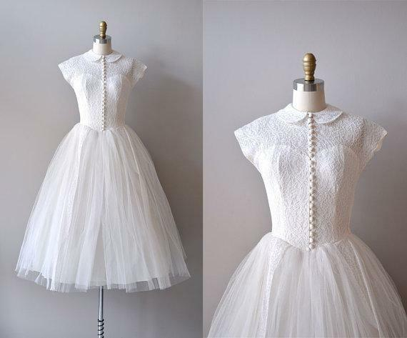 1950's Vintage Lace Wedding Dresses A-Line Cap Sleeve Knee