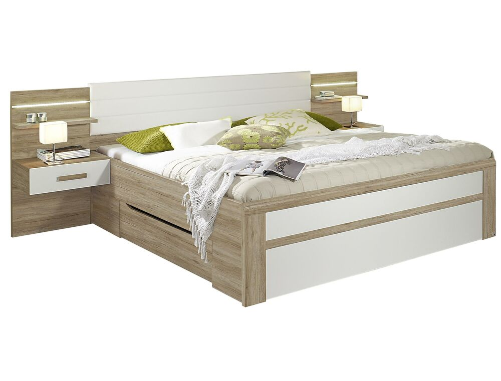 rauch schubkastenbett bernau mit 2 h nge nachtkonsolen 2 breiten funktionsbett ebay. Black Bedroom Furniture Sets. Home Design Ideas