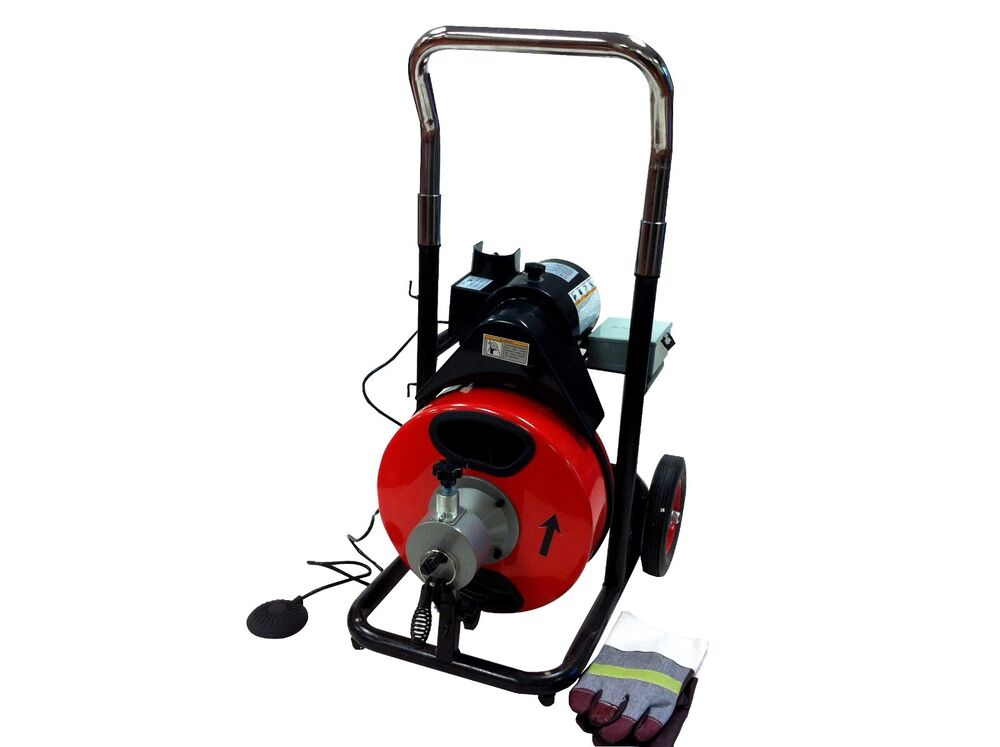 Commerical 100ft Electric Drain Auger Snake Cleane Plumbin
