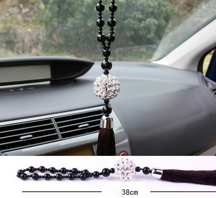 white ablaze crystal ball car mirror pendant interior decor hanging ornament ebay. Black Bedroom Furniture Sets. Home Design Ideas