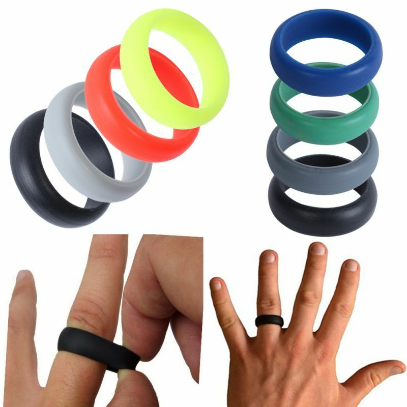 Rubber Band Wedding Rings >> Silicone Wedding Band Rings Men Women Rubber Flexible Hypoallergenic Rubber Ring | eBay