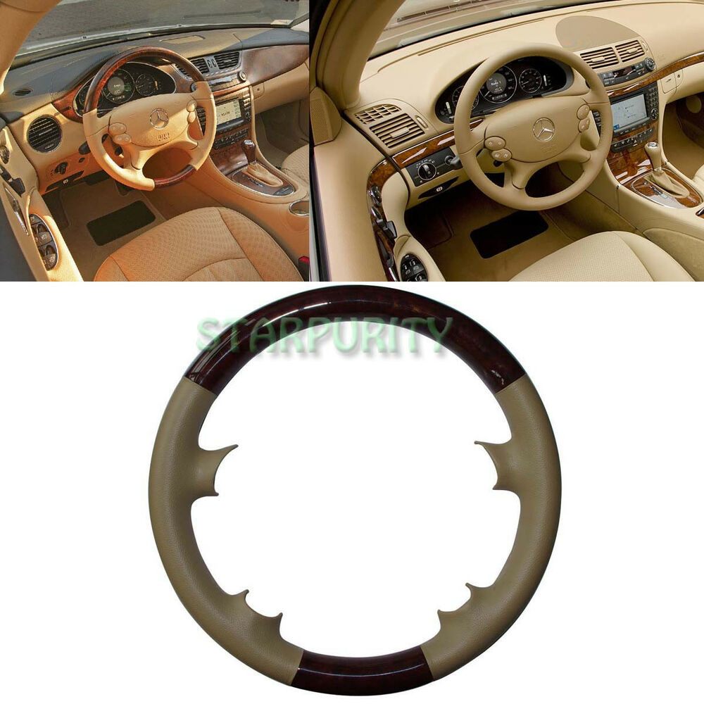 Leather wood steering wheel cover mercedes 03 09 w209 clk for Mercedes benz steering wheel cover