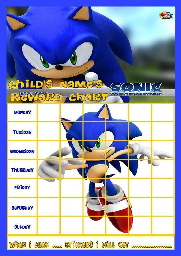sonic the hedgehog personalised reward chart with free