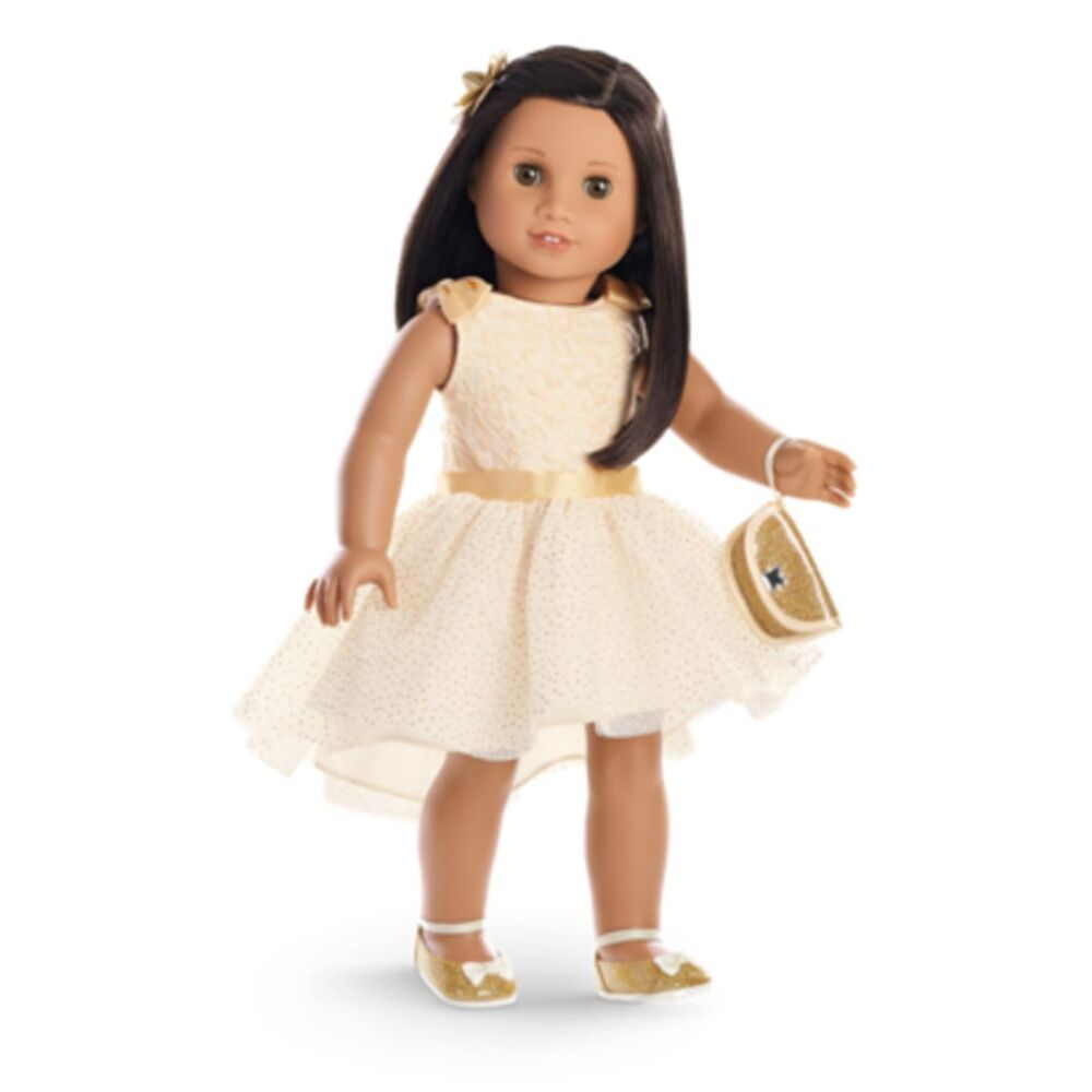 American Girl My Ag Gorgeous Gold Outfit For 18 Dolls Dress Retired Gown New Ebay