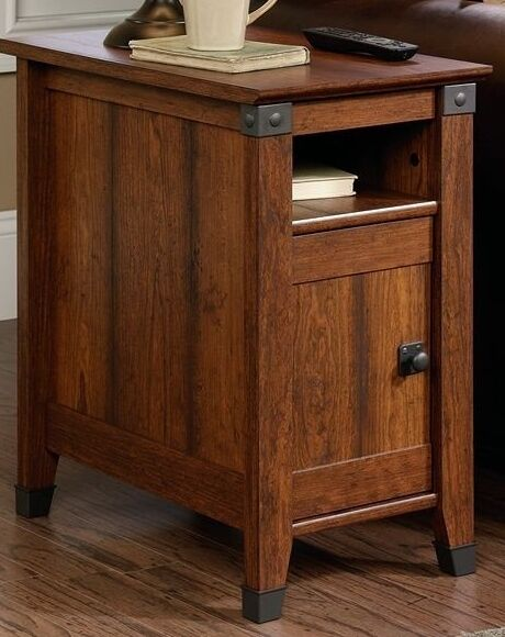 end table vintage side cherry wood night stand storage cabinet shelf iron new ebay. Black Bedroom Furniture Sets. Home Design Ideas
