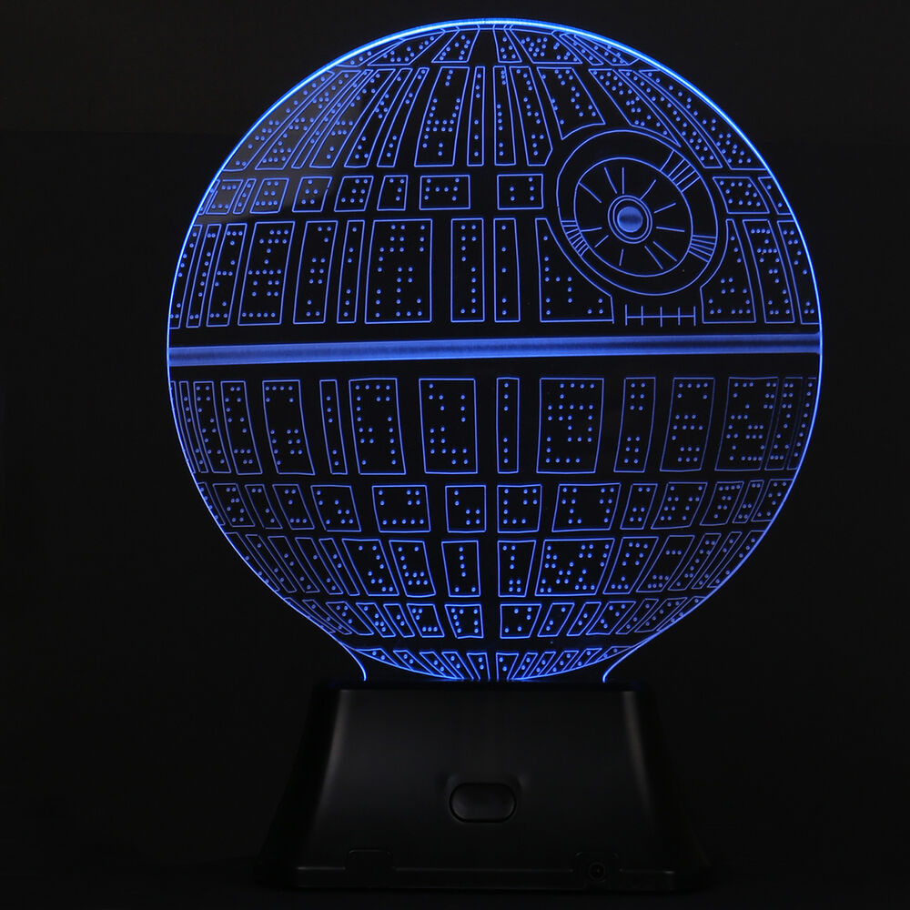 3d illusion death star lamp acrylic led night light micro usb table desk lamp ebay. Black Bedroom Furniture Sets. Home Design Ideas