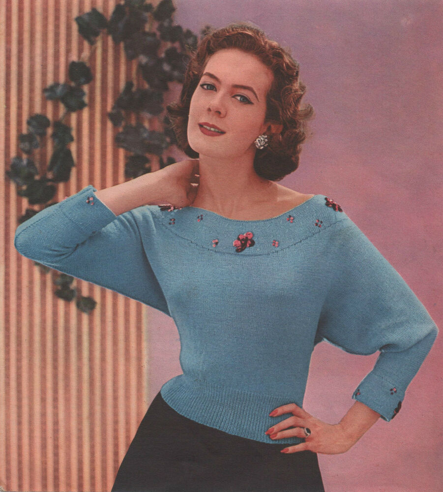Knitting Lady At Guillotine : Vintage knitting pattern lady s batwing beaded