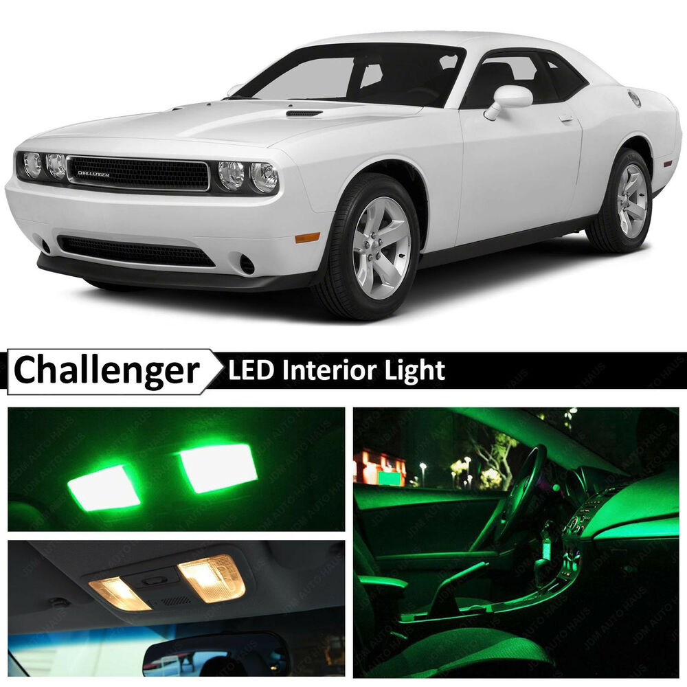 9x green interior led lights package kit for 2008 2014 dodge challenger ebay. Black Bedroom Furniture Sets. Home Design Ideas