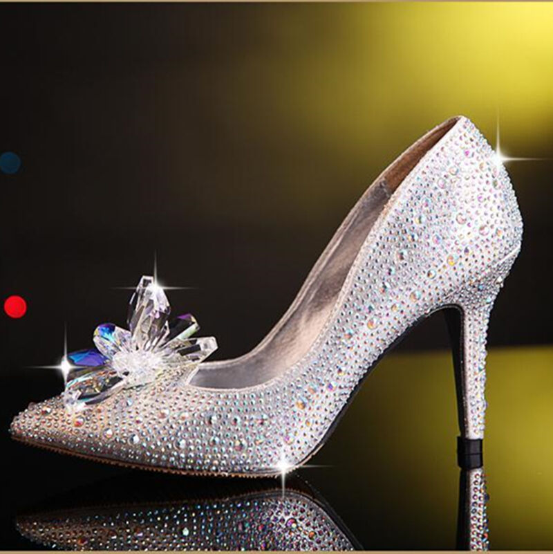 9cm Cinderella Shoes High Heels Women Pumps Crystal