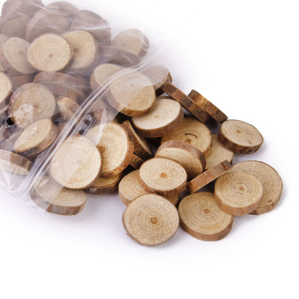 100pcs wood log slices discs for diy crafts wedding for Log craft ideas