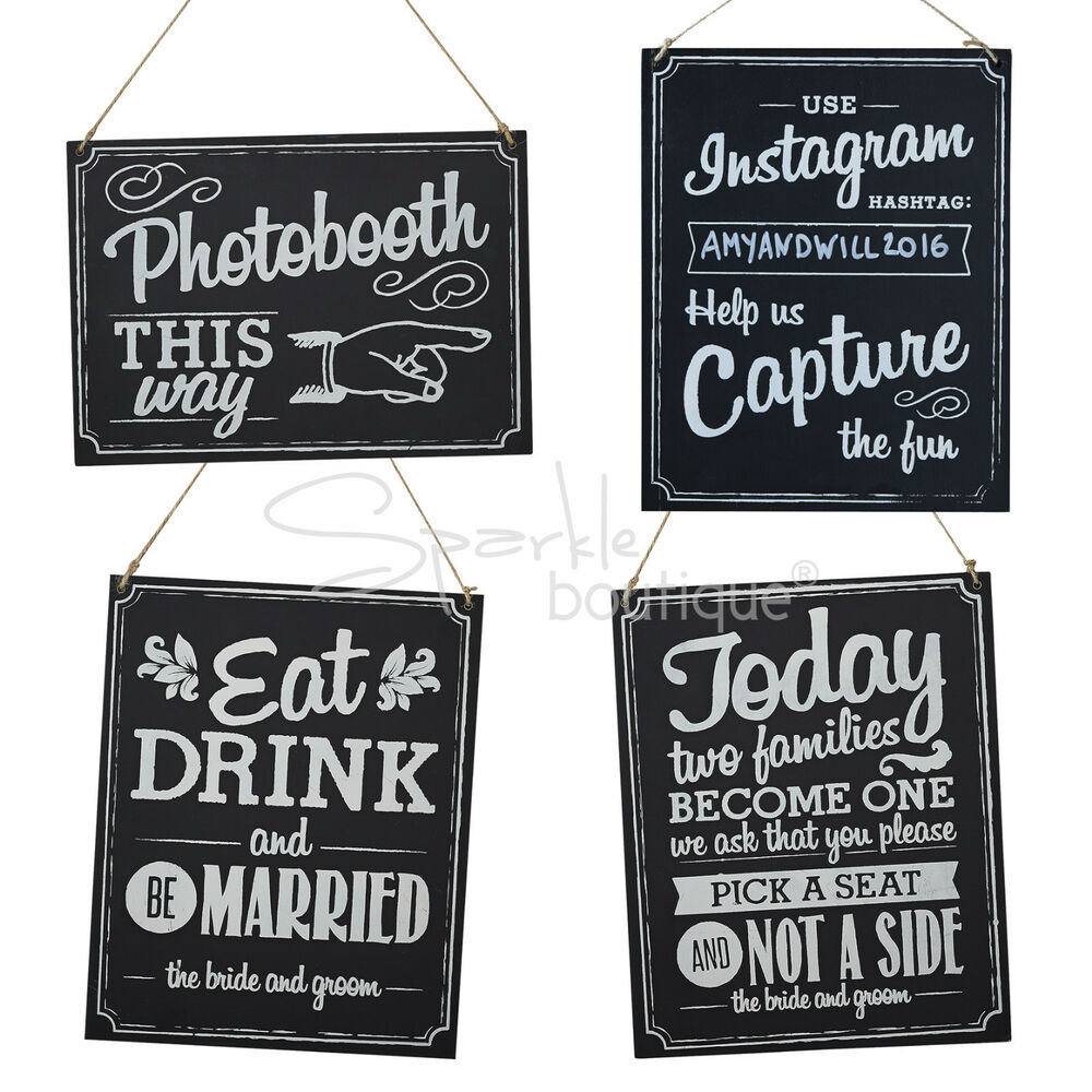 WOODEN WEDDING SIGNS Chalkboard Style With Brown String Vintage Rustic Wedding