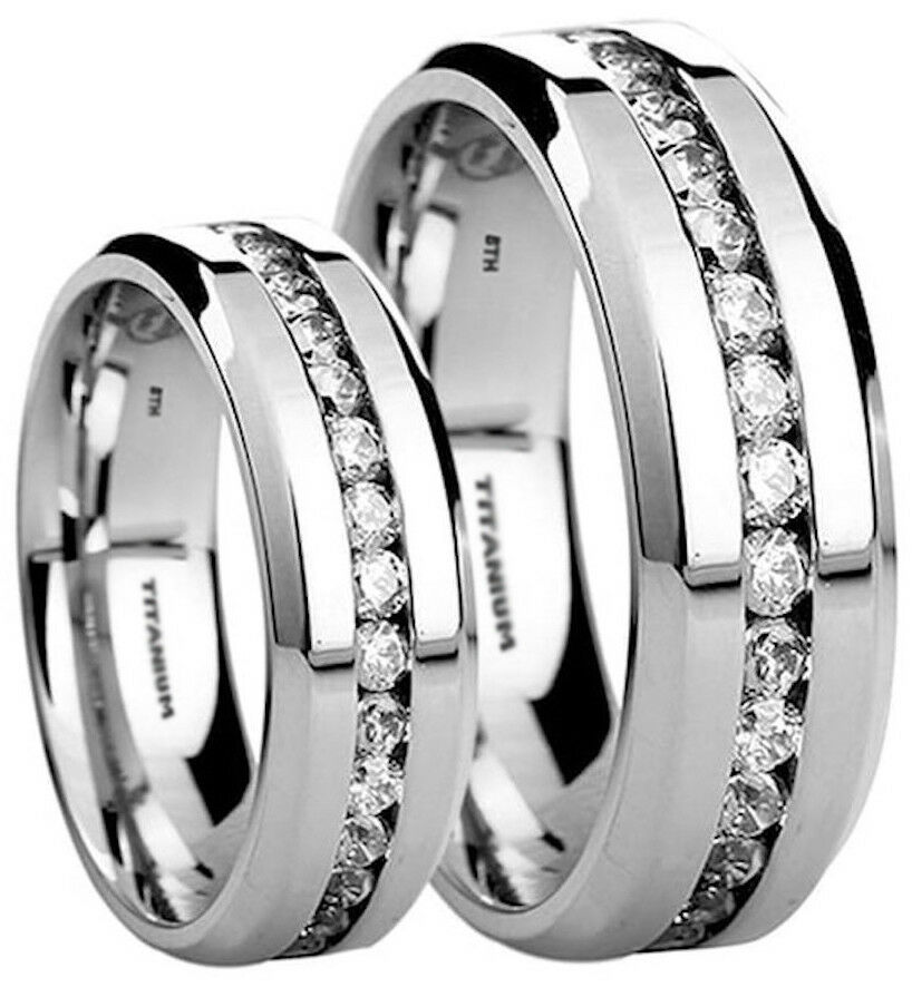 his and hers 6mm8mm created diamonds titanium wedding