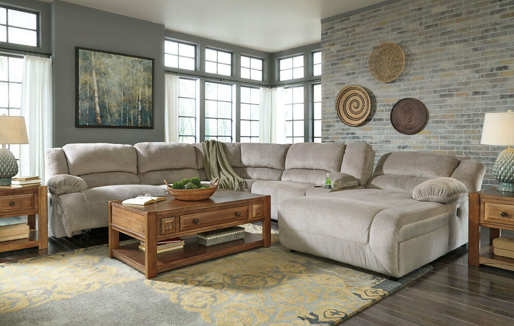 CARRIE-6pcs Gray Microfiber Recliner Sofa Couch Chaise Sectional Set Living  Room | EBay