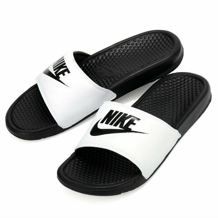 Nike Benassi JDI Men s Slide White  Black Slipper 343880-100 Free Shipping   69626ab221