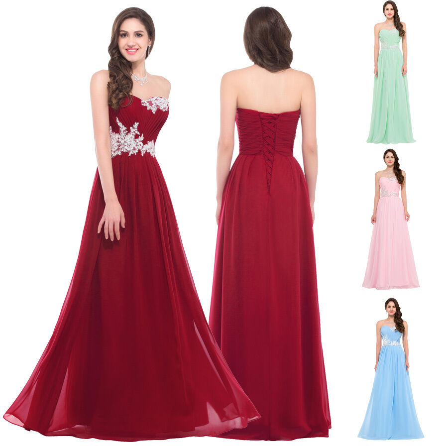 Women long chiffon prom evening party cocktail wedding for Ebay wedding bridesmaid dresses