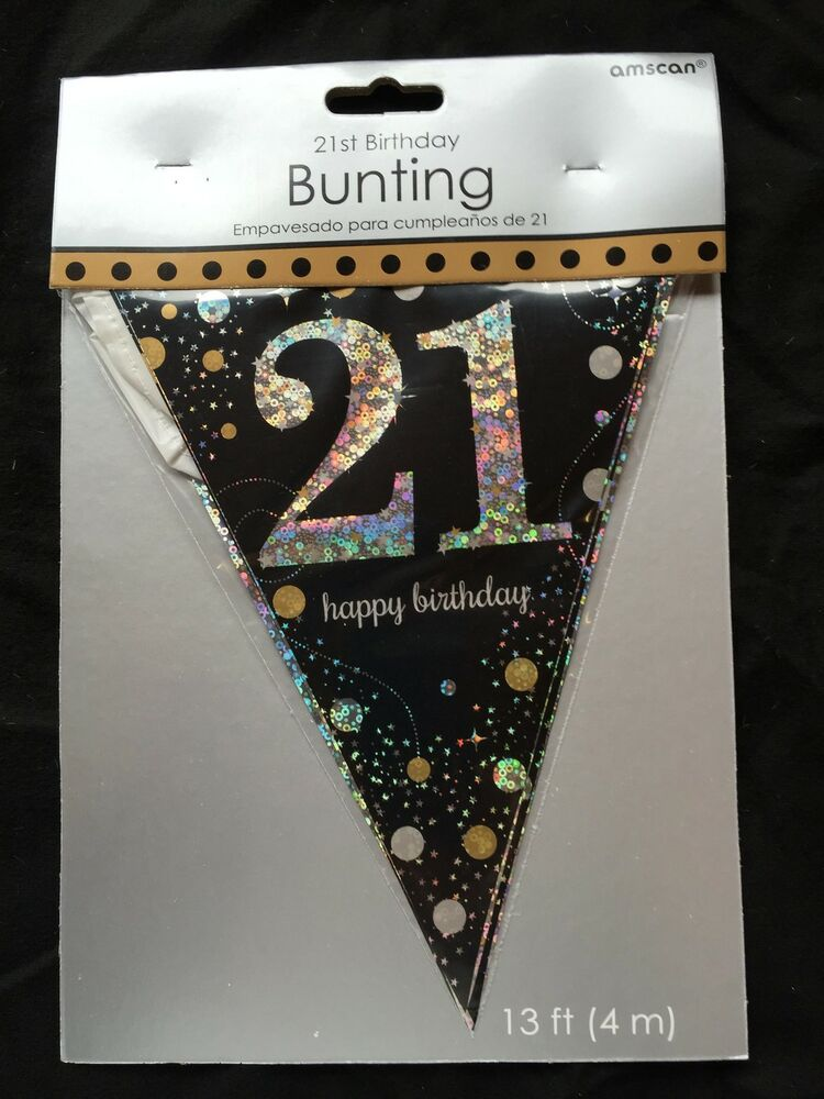 21st birthday pennant flag banner black silver gold party for 21st party decoration