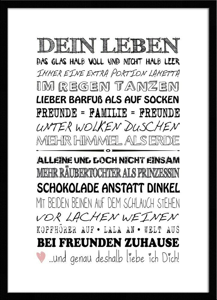 artissimo spruch bild gerahmt 51x71cm poster kunstdruck. Black Bedroom Furniture Sets. Home Design Ideas