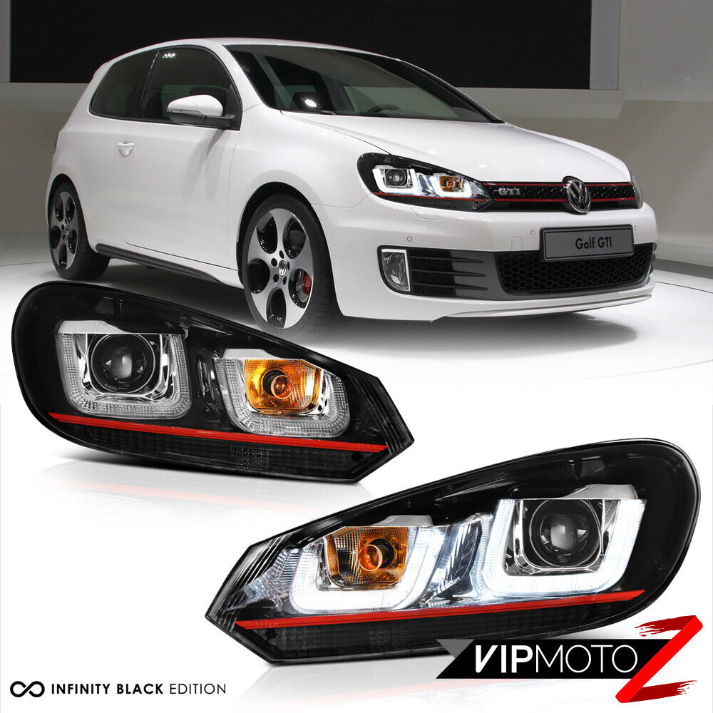 2010-2014 Volkswagen MK6 GTI GOLF Sportwagon OLED Neon Tube Red Headlights Pair | eBay