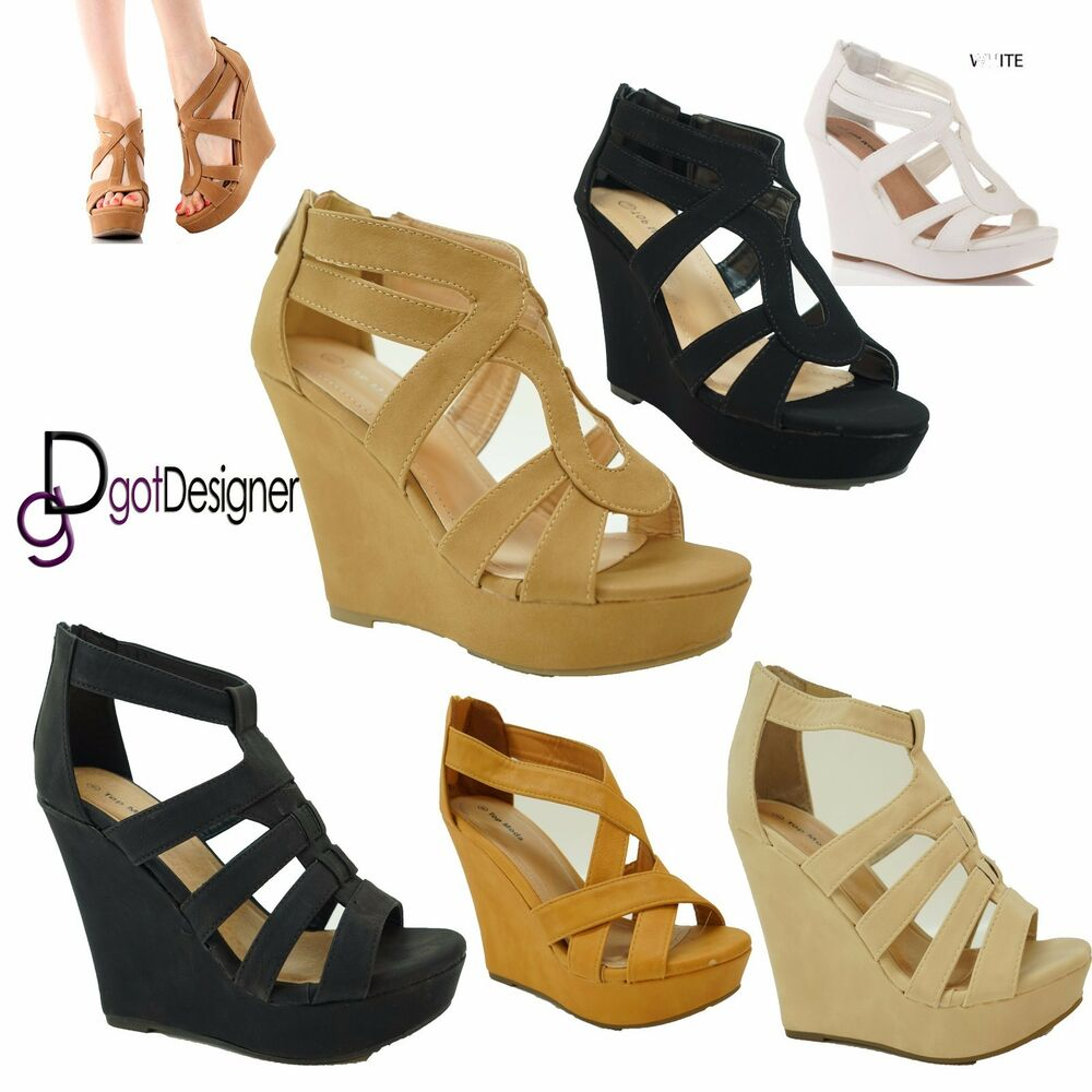 Women 39 S Fashion Open Toe Wedges Strappy Platform Sandals Shoes New Size 5 10 Ebay