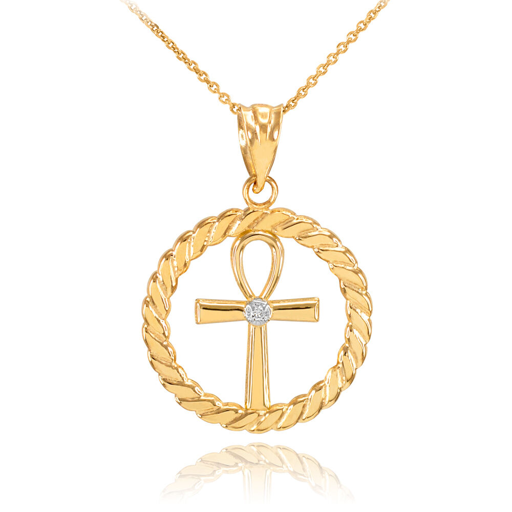 14k Gold Roped Circle Egyptian Ankh Cross with Diamond ...  14k Gold Roped ...
