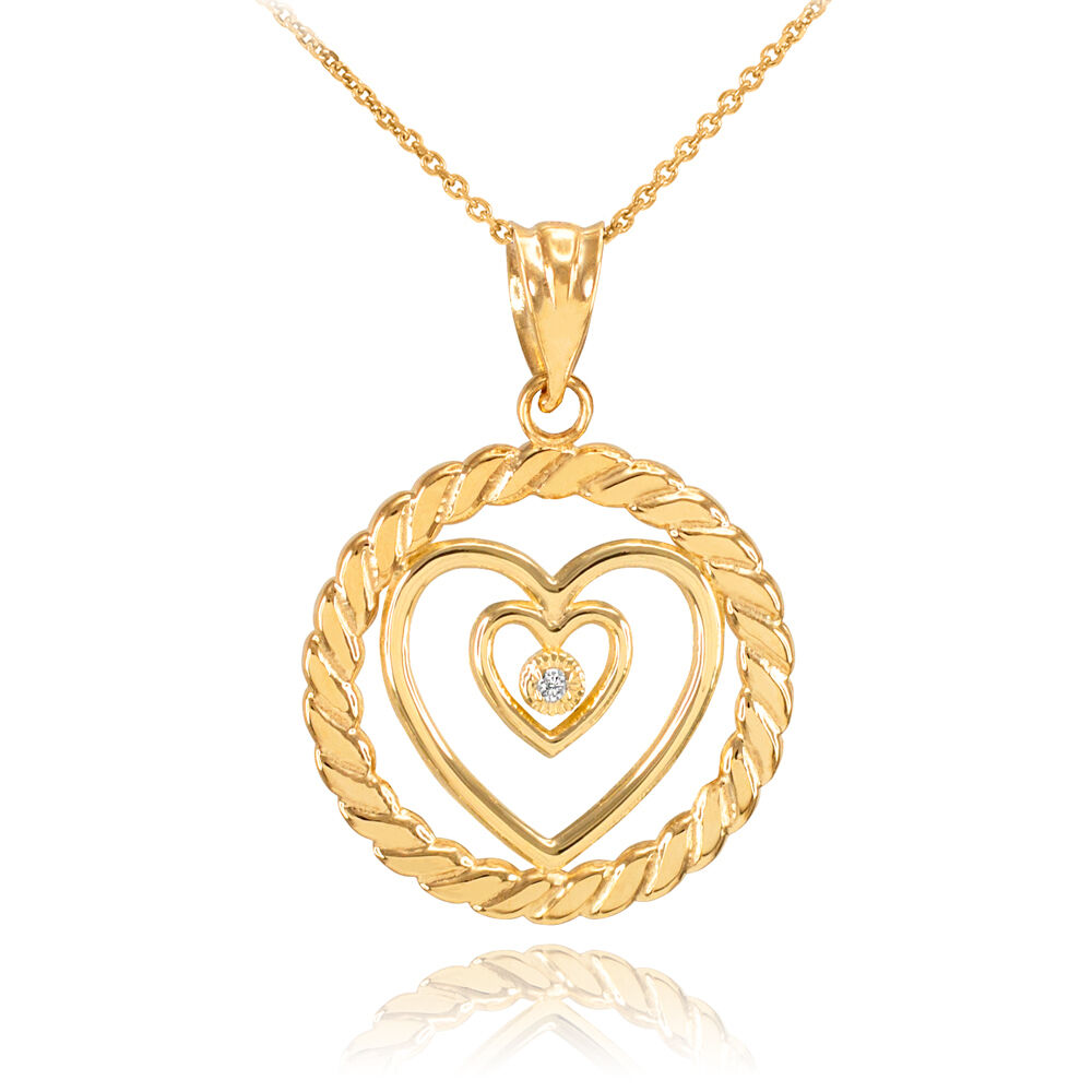 gold roped circle double heart with diamond pendant. Black Bedroom Furniture Sets. Home Design Ideas