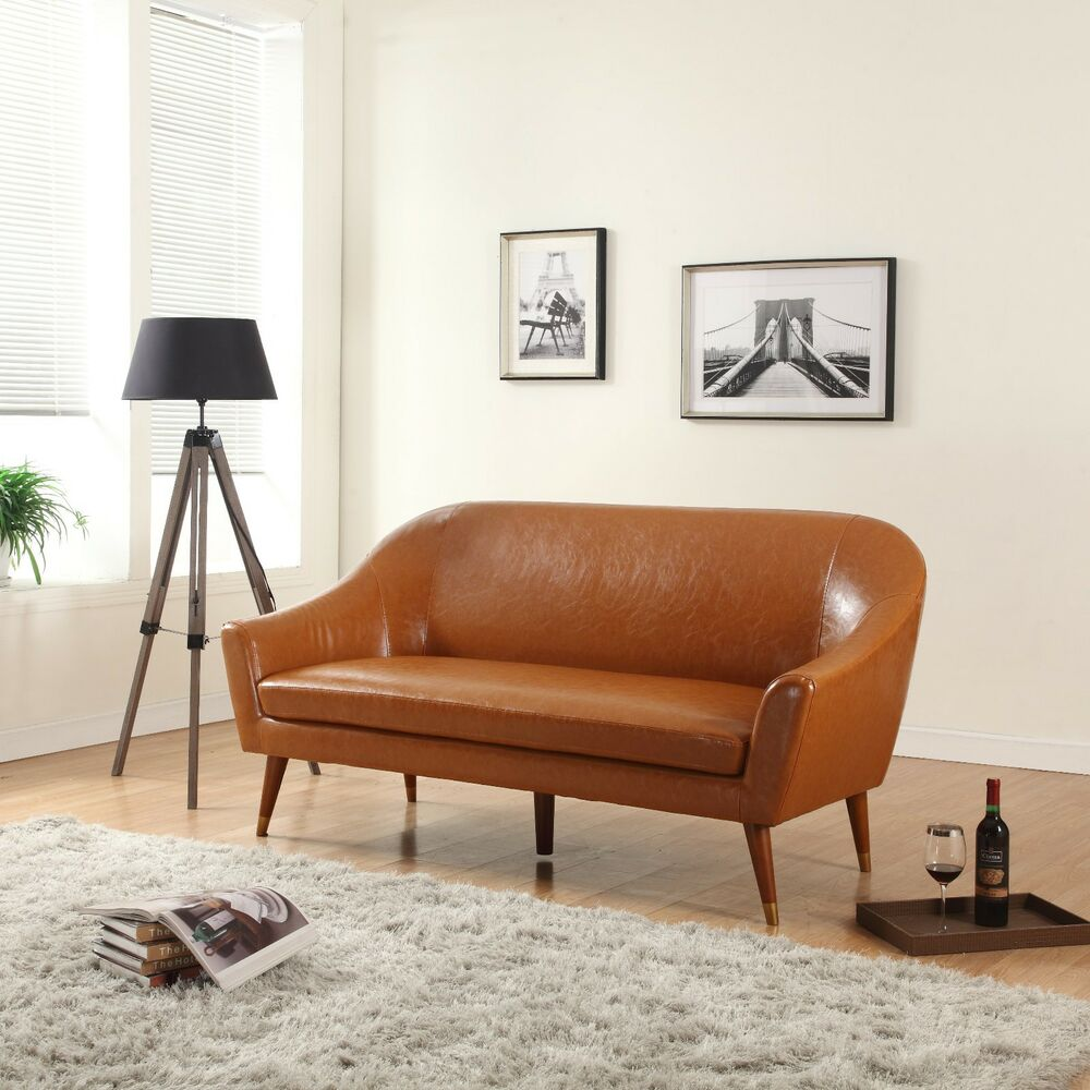 Mid century modern bonded leather living room sofa camel for Mid century modern leather chairs