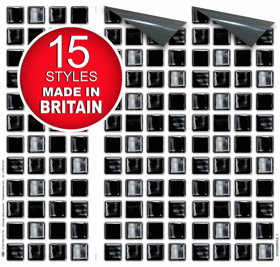 """9 Tile Transfer Stickers 4""""x4"""" BLACK MOSAIC for Kitchen ..."""