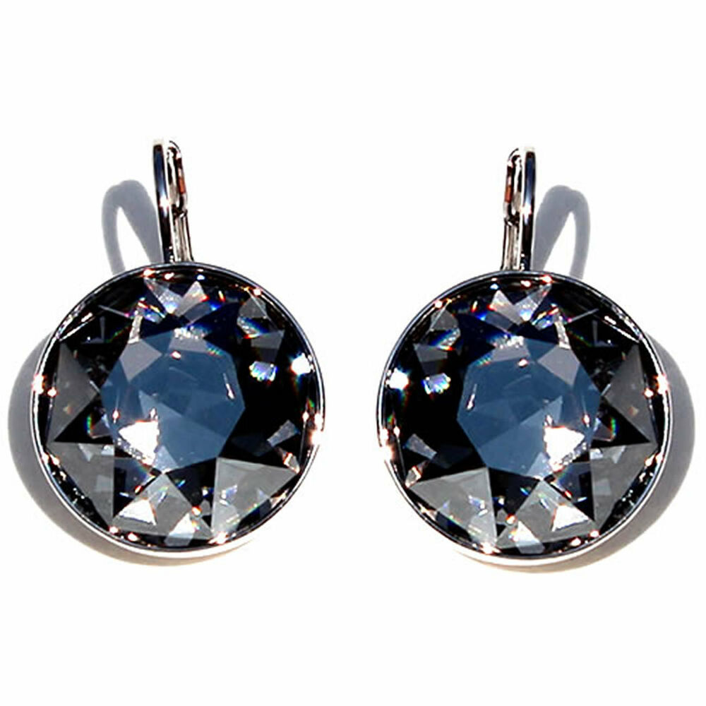 Large Round Bella Women Black Diamond Earrings Made with ...