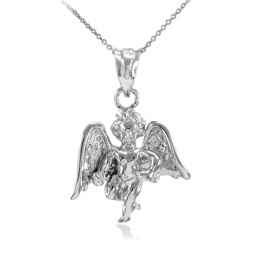 Solid Gold Guardian Angel Necklace