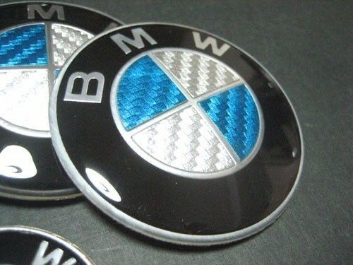 bmw emblem sticker logo badge 45mm white blue carbon fiber. Black Bedroom Furniture Sets. Home Design Ideas