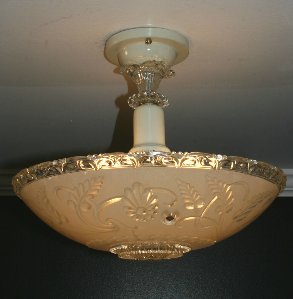 Celing Light Fixtures: Antique Beige Glass Semi Flush Art Deco Light Fixture