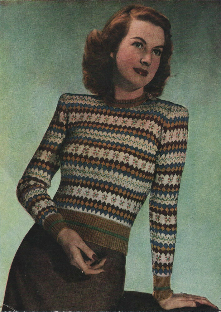 Vintage Knitting Pattern Ladys 1940s Fair Isle Sweater/Jumper. eBay