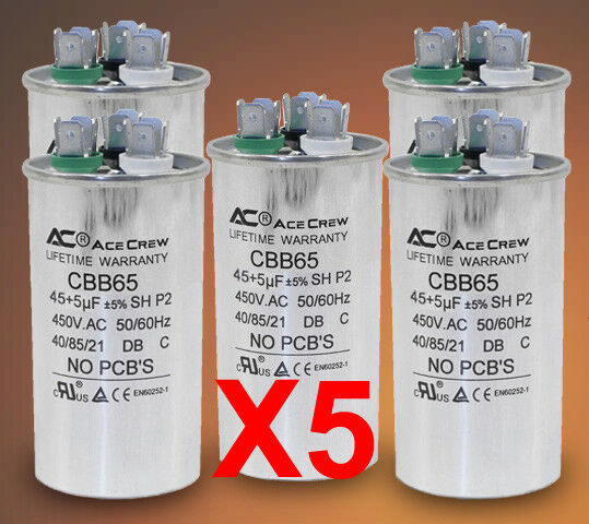 45 5 dual run capacitor lot of 5 mfd uf 450vac ac electric for Electric motor capacitor replacement
