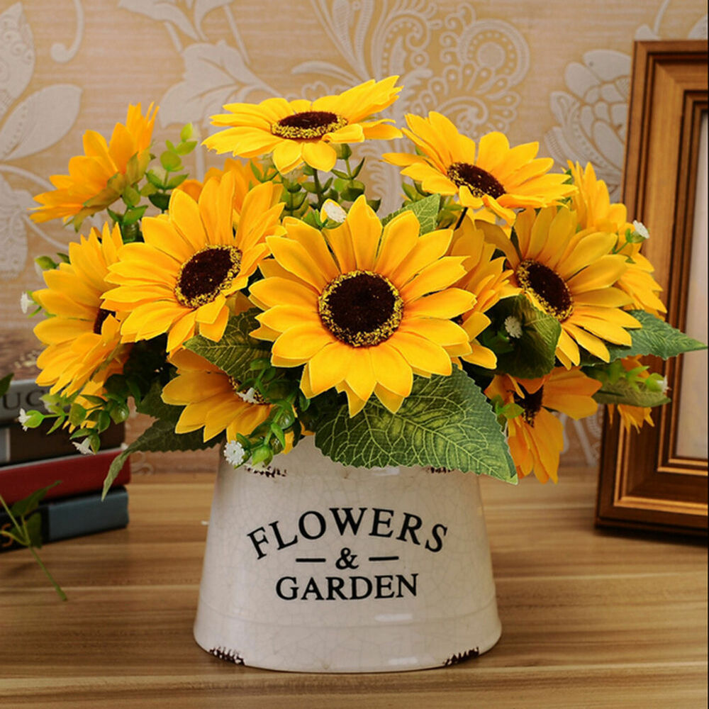 Sunflower Home Decor: 1 Bouquet 7 Heads Fake Sunflower Artificial Silk Flower