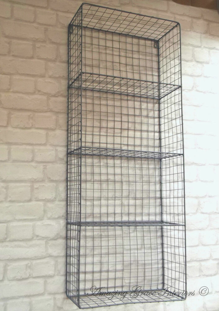 wire cabinet shelf vintage industrial style metal wall shelf unit rack 29323