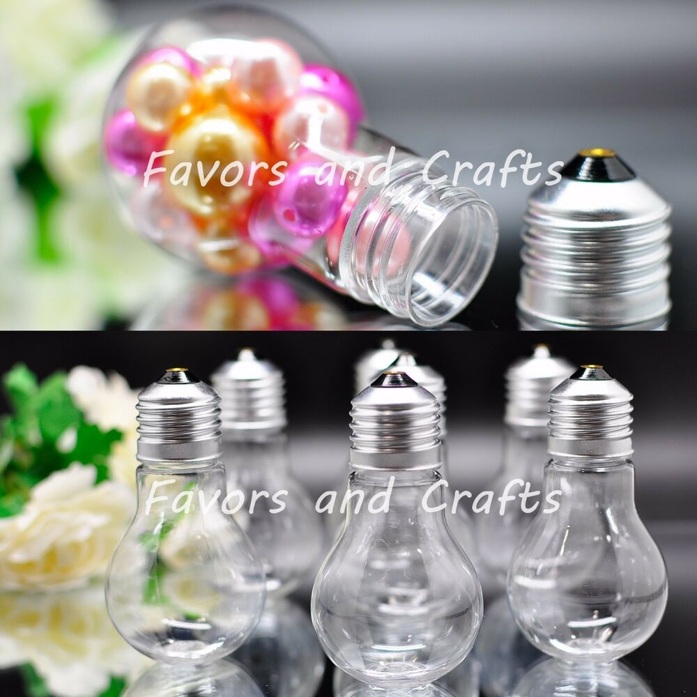 12 fillable plastic light bulbs clear wedding favors baby for Wedding supplies