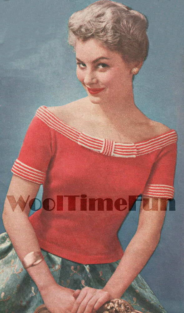 Knitting Lady At Guillotine : Vintage knitting pattern lady s off shoulder scoop