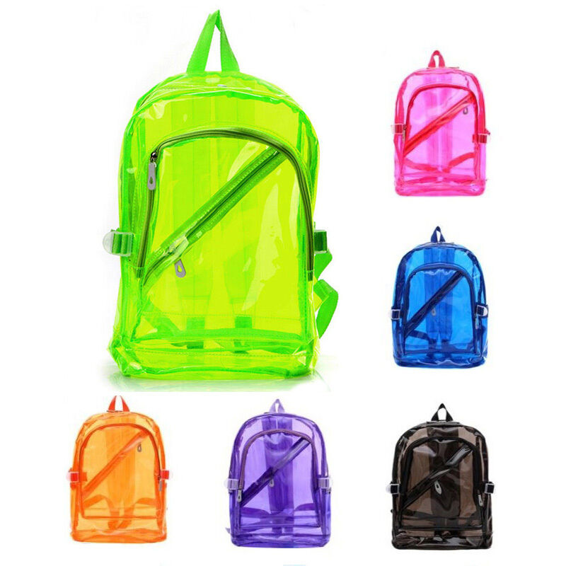 clear transparent backpack pvc school security book bag