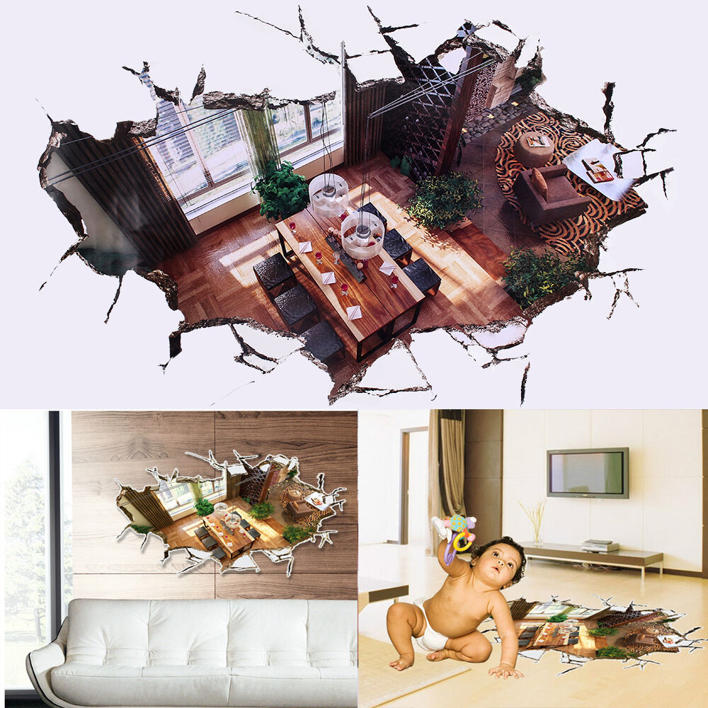 3d pvc broken floor wall stickers mural removable vinyl decals living room decor ebay. Black Bedroom Furniture Sets. Home Design Ideas