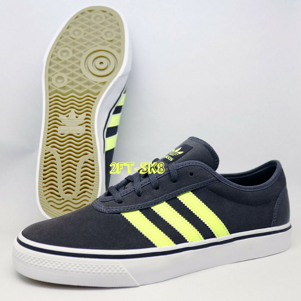 ADIDAS ADI-EASE GREY NEON YELLOW MENS SKATE SHOES ...