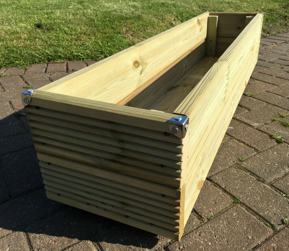 Jumbo extra large long wooden planter trough decking for Flat pack garden decking