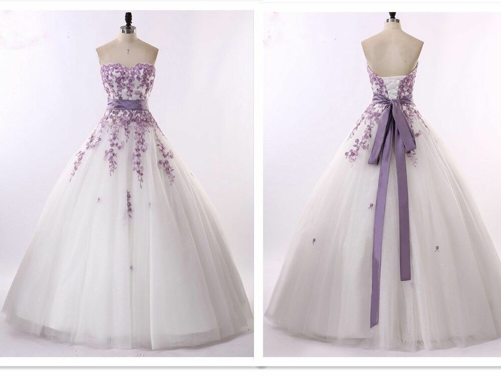 White and purple wedding dresses bridal gowns size 6 8 10 for Ebay wedding dresses size 12
